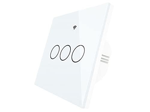 ZigBee Interruttore Smart Da Parete, Interrutore Intelligente Da Parete ZigBee, 3 Tasti Touch Con Pannello in Cristallo, App Tuya e Smart Life, Colore Bianco,Per Scatola 503 Italiana