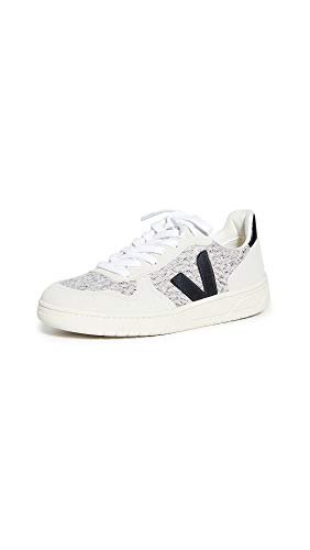 Veja Women's V-10 Sneakers, Snow/Black, 6 Medium US