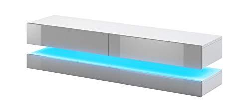 Vivaldi TV-Hängeboard LED Fly | 45 x 140 x 34 cm | 26 kg | TV-Unterschrank aus Spanholzplatte | Fernsehtisch mit 2 Schubladen&Regal | für Wohnzimmer & Esszimmer | Grau Matt & Weiß Hochglanz