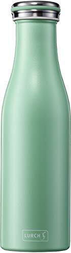 Lurch 240943 Isolierflasche / Thermoflasche für heiße und kalte Getränke aus doppelwandigem Edelstahl 0,5l, Pearl Green