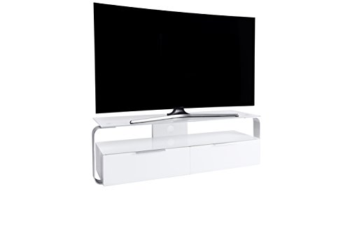 Jahnke TV-Möbel, Glas, Weiss, 128 x 40 x 40 cm