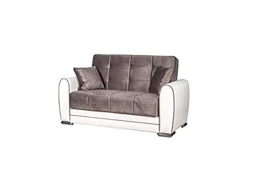 Divano letto 2 posti con struttura in ecopelle bianca e seduta in tessuto grigio, 224x85x87 cm