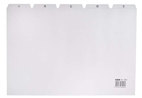 HAN 984, index alphabétique A - Z, DIN A4 horizontal, bloc de 25 intercalaires pour boîtes et bacs à fiches, gris