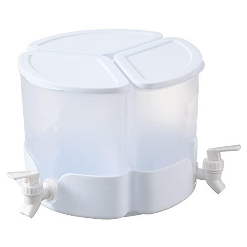 Montloxs Hervidor de agua fría Dispensador de bebidas Recipiente de agua Tres rejillas Cubo de agua helada Botella de agua fría giratoria Refrigerador Tipo flor de ciruelo Recipiente de agua con grifo