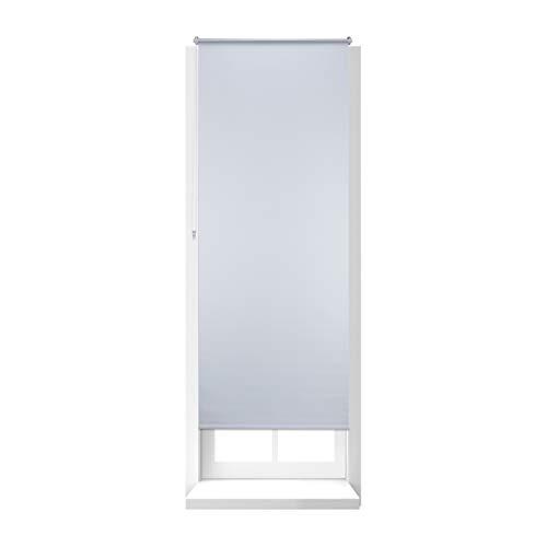 Relaxdays Estor Opaco Enrollable sin Taladrar, Tela-Aluminio, Ancho Tejido 76 cm, 80 x 210 cm, Blanco, 80 X 210