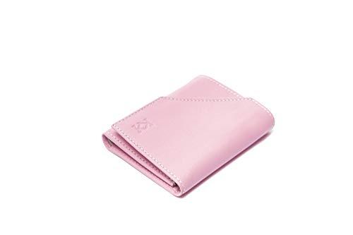 KOSETI - Cartera Pequeña para Mujer Rosa | Piel de Vacuno Autentica | con Bloqueo RFID y NFC | Fabricada en España 10 Ranuras para Tarjeta Realizada por Artesanos de Ubrique