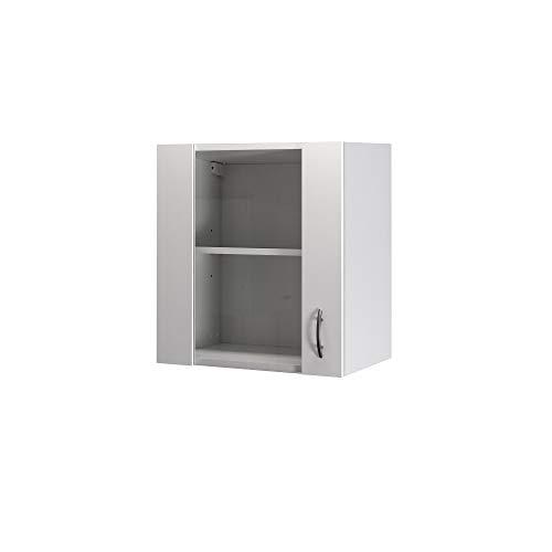 Flex-Well Glas-Hängeschrank UNNA - Oberschrank vielseitig einsetzbar - 1-türig - Breite 50 cm - Weiß