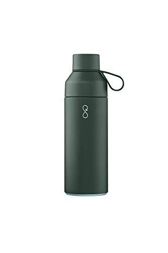 Ocean Bottle Thermos, Acero Inoxidable, Plástico Océano Reciclado, Pet Virgen, Silicona, Forest Green, 500 ml