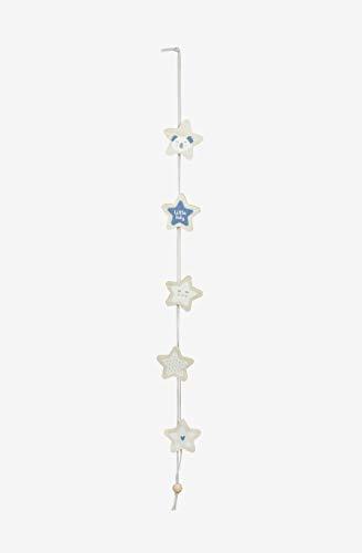 Kadolis Dekorative Holzgirlande mit Sternenmotiven Himmelblau