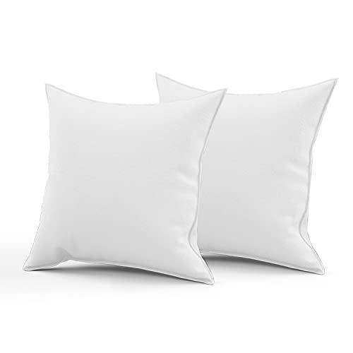 Amistoso Kissen – Bettwäsche Kissen Pads (2 Stück   weiß) – Kisseneinsätze 45 x 45 cm – flauschige Kissenfüllungen für Sofa – 100% Polyester-Hohlfaser Kissen innen (2 Stück   45,7 x 45,7 cm)