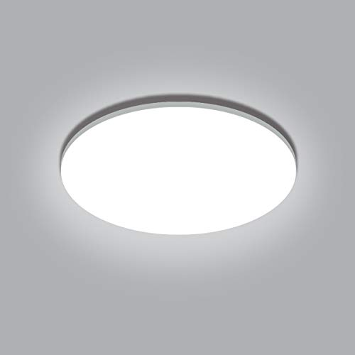 Lámparas de techo LED de luz diurna para baño, GLUROO 24W 5000K IP54 Lámparas de techo empotradas impermeables, lámpara de techo redonda equivalente a 150W para dormitorio, sala de estar Ø32cm