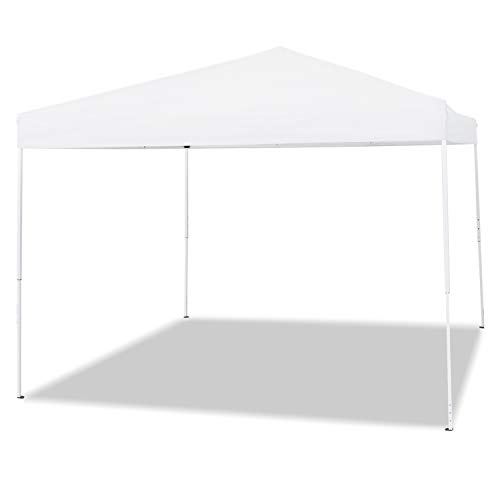Aoxun Patio 10' x 10' Pop Up Canopy Tent Instant Outdoor Canopy Easy Set-up Straight Leg Folding Shelterwith Duty Roller Bag (White