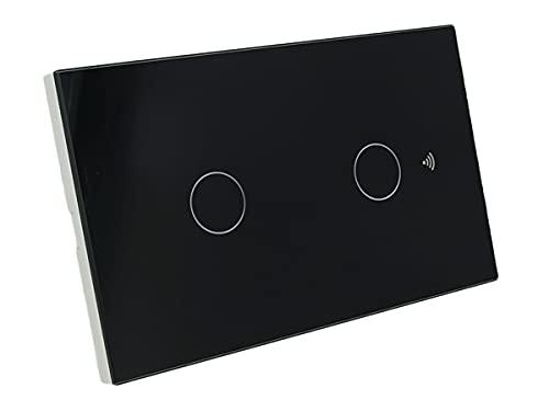 Interruttore Da Parete WiFi, 3 In 1 WiFi 2.4G + RF 433 Mhz + Tasto Touch, Compatibile Con Amazon Alexa e Google Home, Pannello Smart Intelligente Per Scatola 503 Italiana (Nero, 2 Tasti Touch)