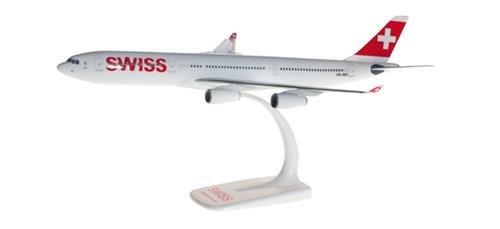 herpa 610117-001 – Airbus A340-300 Swiss Airlines, Flugzeugmodell, Modellsammlung, Bastler, Miniaturmodelle, Modellbausatz, Kleinmodell, Airplane, Flugzeuge zum Sammeln – Maßstab 1:200