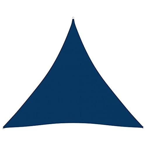 vidaXL Toldo de Vela Parasol Lona Protector Solar Sombra Patio Jardín Terraza Balcón Parque Exterior Triangular de Tela Oxford Azul 3x3x3 m