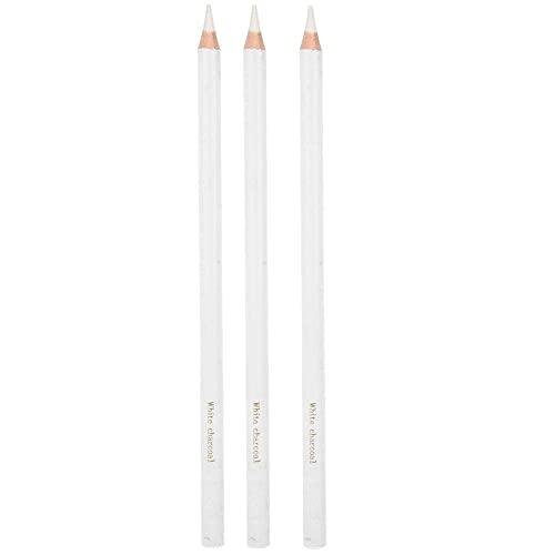 RILLATEK 3 PCS Lápiz de carbón Blanco, bocetos Profesionales Resaltar Pen Dibujo no tóxico Herramientas para lápices para Suministros de Bellas Artes (Color : -, Talla : -)