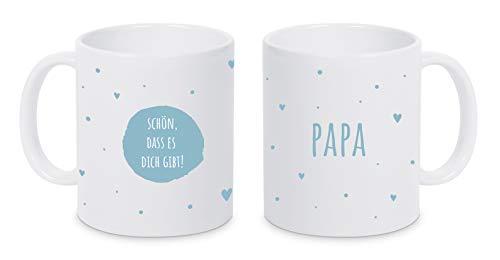 TASSENPALAST Personalisierte (Schön das es Dich gibt) Kaffee Tasse mit eigenen Wunschname. Für die Beste Freundin, Opa, Oma, Mama, Papa. Schönes Geschenk oder kleine Aufmerksamkeit (Blau auf Weiß)