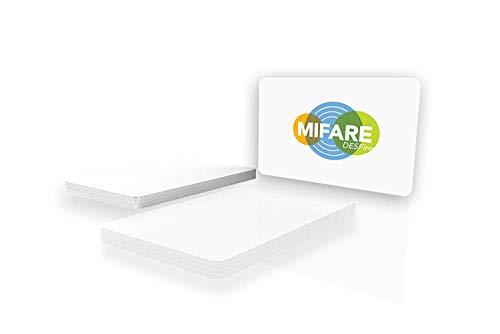 NXP Mifare Desfire EV1 4K, blanko, weiß, glänzend, bedruckbar CR80 / 85.6mm x 54mm / 3.375