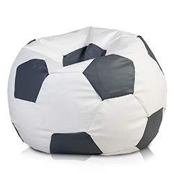 Ecopuf Fußball S Sitzsack aus Ecoleder – Handgefertigtes Fußball Sitzkissen mit doppelt verstärkten Nähten, 35 x 55 cm, Bodensitzkissen mit Polystyrol Füllung Farbe Grau E15
