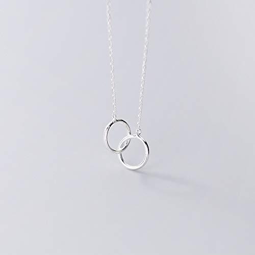 S925 Silver Necklace Female Fashion Temperament Interlocking, Simple Hollow Round Chain