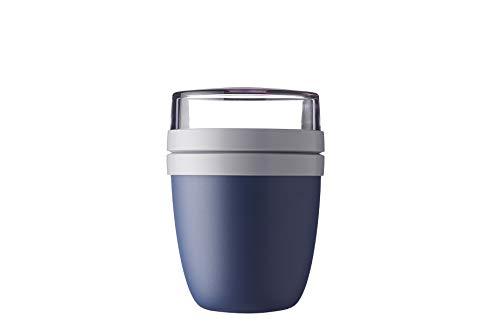 Mepal Lunchpot Ellipse Nordic Denim – 500 ml praktischer Müslibecher, Joghurtbecher, to go Becher – Geeignet für Tiefkühler, Mikrowelle und Spülmaschine, Polypropyleen (PP), PCTG, 10.7 cm
