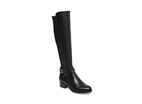 Steve Madden Womens Jadine Leather Almond Toe Knee High, Black Leather, Size 8.5