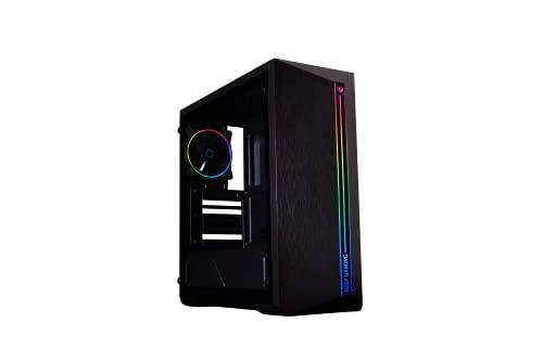 DeepGaming DGC-A200 - Caja PC Gaming ATX/microATX, Ventana Lateral de Cristal Templado, Iluminación A-RGB, Compatible con Refrigeración Líquida PC. Color Negro