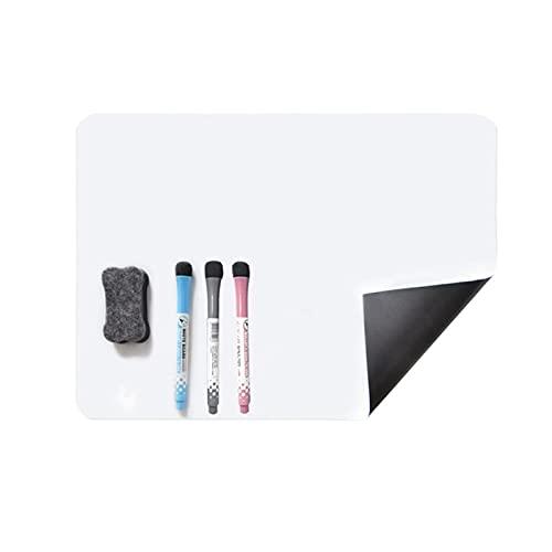 Pizarra blanca magnética para nevera, A3, pizarra magnética borrable, borrado en seco para recordatorios, planificador mensual, incluye 3 marcadores de borrado en seco y borrador