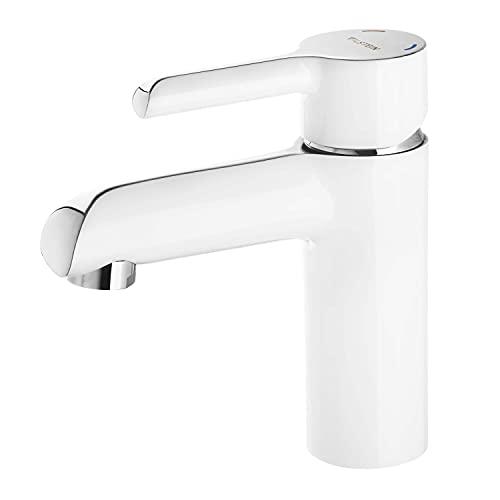 VILSTEIN Design Wasserhahn | Waschtischarmatur Bad | weiß & chrom | Hochdruck Einhebelmischer | Aufsatz | mit Perlator und Kartusche