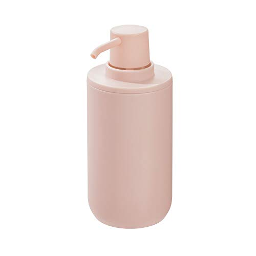 iDesign Seifenspender, runder Lotionspender aus Kunststoff für Bad und Küche, nachfüllbarer Flüssigseifenspender für 355 ml Seife oder Lotion, rosa