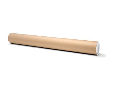 Runde Versandhülse, bis DIN A0, Versandrolle als Verpackung für Zeichnungen und Poster, mit Deckel, Durchmesser 10,0 cm x 90,0 cm, braun