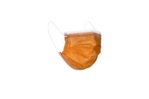 MASCHERINE VENETE 100 mascarillas quirúrgicas empaquetadas en 10 paquetes de 10 mascarillas (Naranja)