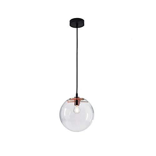 Wings of wind - Boule de verre moderne E27 Lustre Pendentif Lumière Transparent Goutte Lumière Suspension (Golden Hold) (20cm)