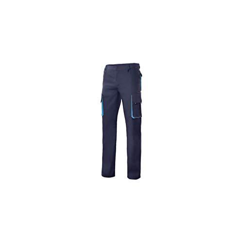 VELILLA - Pantalón Bicolor Multibolsillos con Refuerzo de Tejido 103004 Hombre Azul Navy-Celeste 40