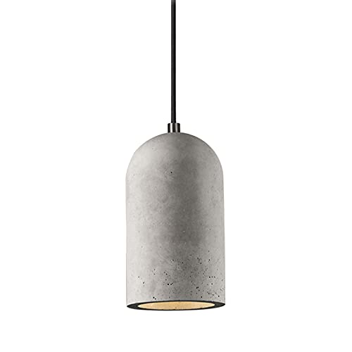 Concrete Pendant Lighting for Kitchen Island,E26 Industrial Cement Ceiling Light,Art Design Hanging Light fixtures for Living Room Bed Room Dining Room-Grey 8.5x19cm