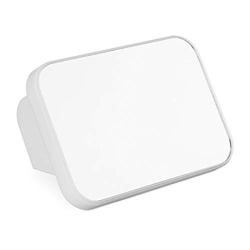 Relaxdays Neigbarer Kosmetikspiegel, Reise Tischspiegel, Rasierspiegel, hochkant, quer stehend, Kunststoffrahmen, weiß, ABS, 2 x 22 x 15cm