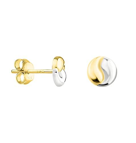 DIAMALA Pendientes para mujer de oro 375 (9 quilates), oro amarillo y blanco con diseño de Yin & Yang DI20022