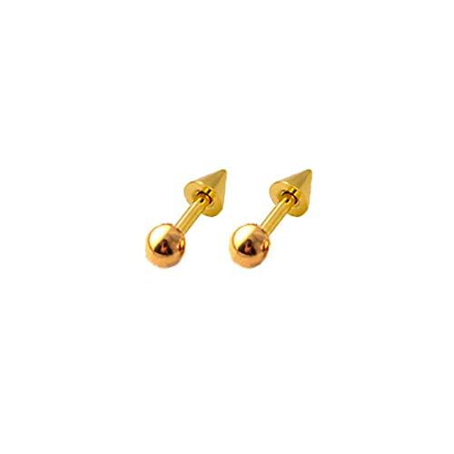 Juego de 2 piercings de acero inoxidable punk, tragus, hélice, piercing para oreja, cartílago, remache, punta de cono (3 mm, dorado)