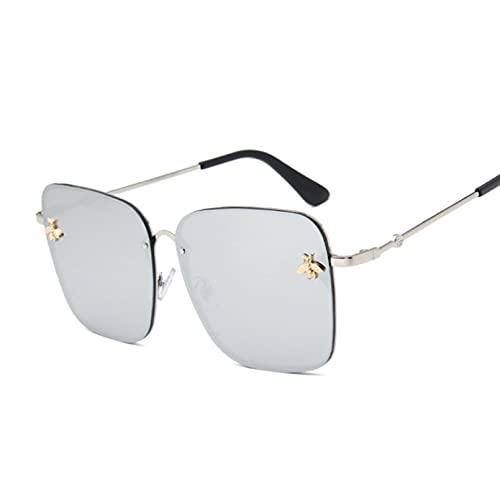 Tanxianlu Gafas de Sol Rosa de Gran tamaño con diseño de Abeja, Gafas de Sol con gradiente de Metal para Mujer, Gafas de Sol de Lujo para Mujer, Gafas Uv400,k