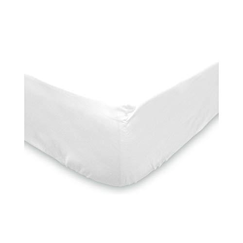 Soleil d'ocre - Sábana bajera lisa de algodón, blanco, 90 x 190 cm