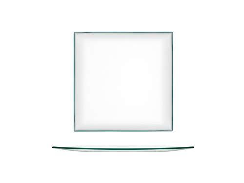 H&H 41491 Juego de 6 Platos Cuadrados, Cristal, 20 cm, Vidrio