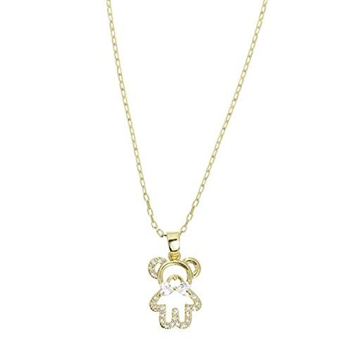 Richoyster Collar Corto de Oso Lindo Dorado para Mujer, Gargantilla de circonita Brillante, Regalo Creativo de cumpleaños, Colgante de joyería de Boda