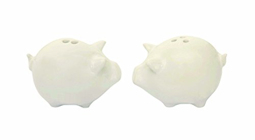 Creative Co-Op Pig Shaped White Stoneware Salt & Pepper Shakers (2 Pieces)