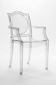 LA16 GHOST 20LA100 - Silla transparente con reposabrazos de policarbonato - Juego de 6 sillones - Color ahumado