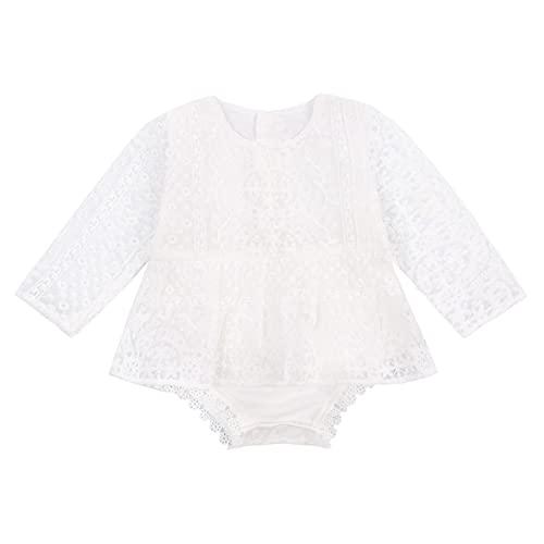 L&ieserram Vestido para niña con tutú bordado de flores y lazo de encaje de encaje de color liso Biancob 18-24 Meses