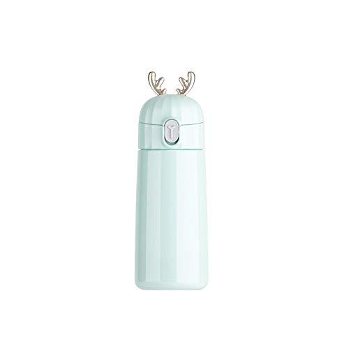 QAZWSXD Taza Aislante De Viaje Mini 270Ml Orejas De Ciervo Lindas Diseño De Modelado Copas Termo 304 Botella De Agua Termo De Acero Inoxidable 350Ml Cian