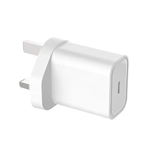 20W Fast Charger USB-C Phone Mains Plug Compatible for iPhone 12 and other products compatible for iPhone,Compatible for Samsung other digital products with USB-C ports/White U.K. Smart Charger