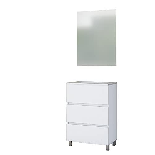 Baikal 280034138 Conjunto de Mueble de Baño suspendido a la Pared con Fondo Super reducido, con Lavabo y Espejo, Tres cajones, Medidas, Melamina 16, Blanco Mate, 80 X 76 X 36 cm