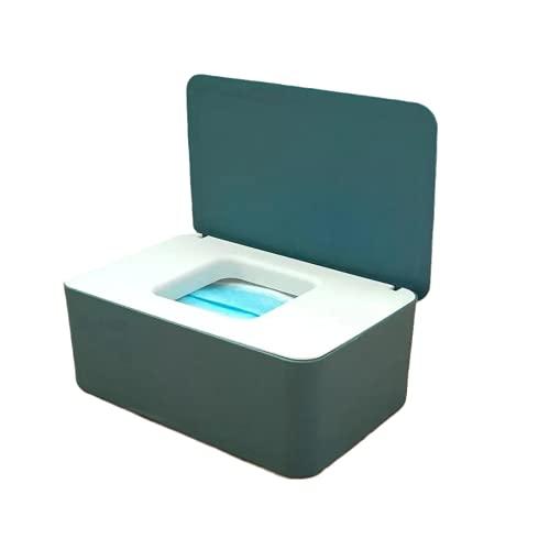 Caja para Toallitas Húmedas, TOSOOFt Dispensador de Toallitas Húmedas,Caja de Papel a Prueba de Polvo Con Tapa Sellada, Caja de Almacenamiento Para Guantes y Mascarillas(Azul + blanco)