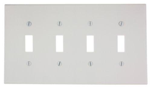 Leviton 80512-W 4-Gang Toggle Device Switch Wallplate, Midway Size, Thermoset, White by Leviton